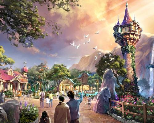 Rapunzel's tower will be the iconic attraction for the Tangled land