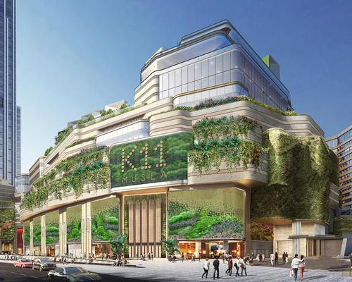 The building's facade will feature one of the world's largest living walls, boasting a total surface area of over 50,000sq ft (4,600sq m) of greenery / K11