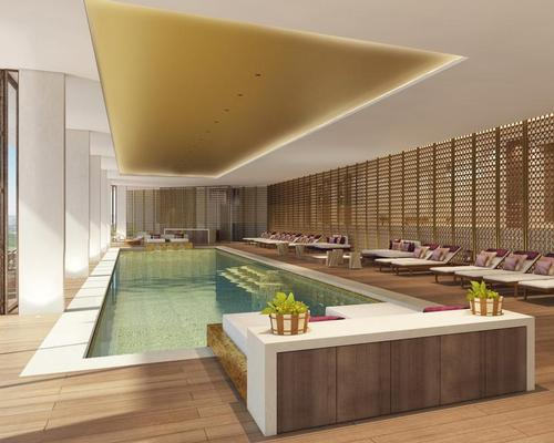 The wellness centre comprises nine treatment rooms, fitness facilities, a wood-lined yoga studio, eucalyptus-infused sauna, manicure and pedicure stations, a mosaic tiled hammam and two temperature-controlled, chaise-longue-lined swimming pools