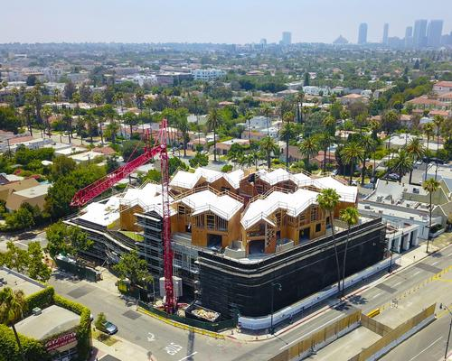 The first U.S. project undertaken by Mad Architects, Los Angeles's Gardenhouse, has topped out