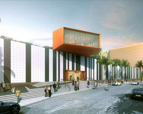 The main façade will be clad in monochromatic porcelain panels that will be broken by a red 'leisure box'