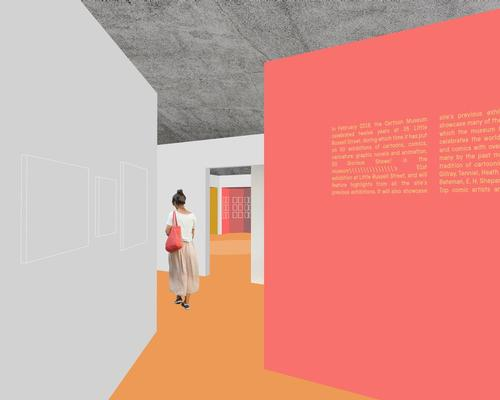 Sam Jacob Studio's renderings show washes of bold colour adorning the walls and floors, contrasting against grey partitions