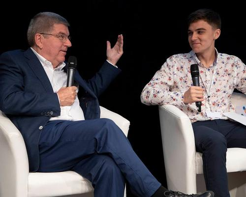 "IOC president Thomas Bach (left) with Jacob ""Jake"" Lyon - a professional esports player"