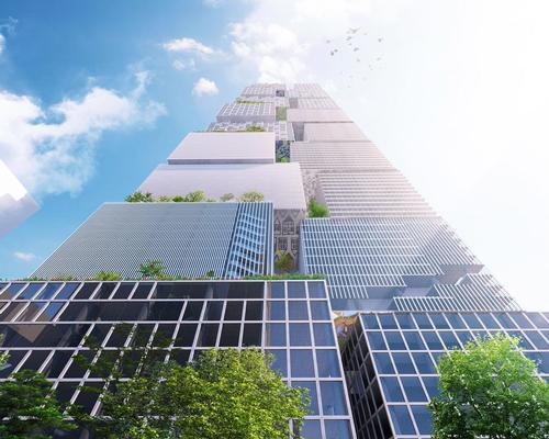 BIG, in partnership with Fender Katsalidis Architects, are proposing a mega 359.6m-high two-building development that will interlock