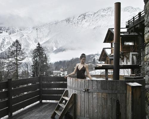 The 500sq m wet area includes an outdoor area with whirlpools and Nordic baths with views of the mountains