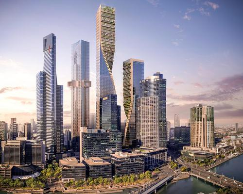 The taller tower, standing at 356.2m, is wholly residential but houses a public garden at its summit and will be Australia's largest skyscraper, usurping the Gold Coast's Q1 tower, which reaches 322.5m