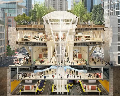 Cross section render of the Salesforce Transit Center