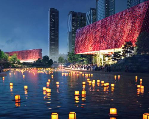 The buildings would be red, to represent phoenix bloodstones – a precious gemstone local to Hangzhou / Benthem Crouwel