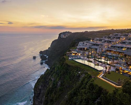 Owned by owned by PT Cahaya Warna Prima, Six Senses Uluwatu, Bali is is set atop a rugged cliff, sharing ocean views with the island's famed Uluwatu Temple