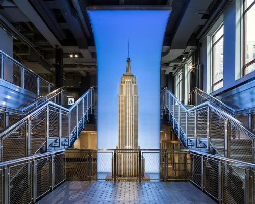 The lobby has been recreated to the original architects' Art Deco design intent, while introducing a contemporary visitor processing system and employing state-of-the-art technology / Empire State Building