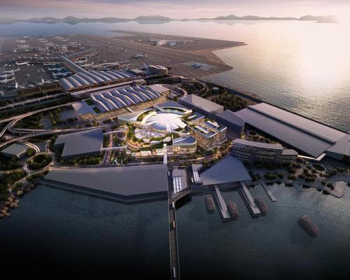 An aerial rendering of the planned SkyCity complex / courtesy of Hong Kong International Airport