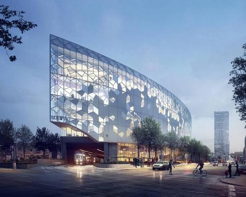 A rendering of the library's exterior / courtesy of Snøhetta and MIR