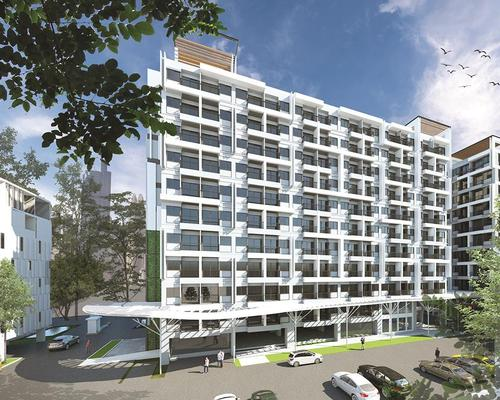 Jin Wellbeing County includes 13 seven-storey buildings with a total of 1,300 units, an Aged Care Center for assisted living, and a Wellness Center with spa