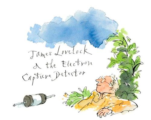 The Lovelock portrayal shows the scientist beside foliage and his Electron Capture Detector, which demonstrated the environmental danger of CFCs to the Earth / The Science Museum