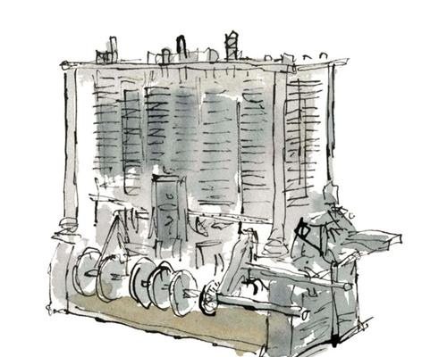 His Lovelace depiction also shows Charles Babbage's Analytical Engine