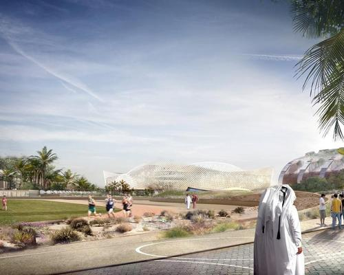 The creation of the new public realm is intended to help achieve the community and environmentally focused objectives of the Qatari World Cup planning committees. / Courtesy of the Supreme Committee for Delivery & Legacy