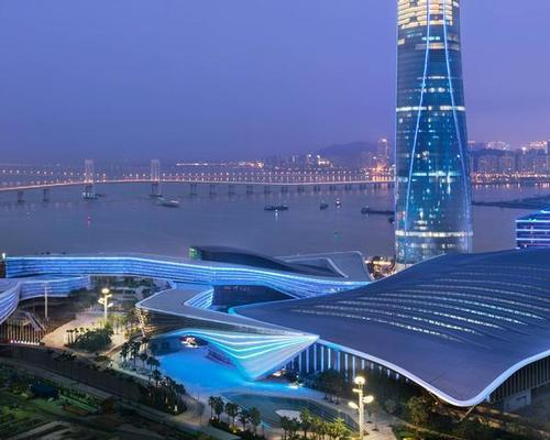 The new hotel occupies floors 41 to 72 of the 320-metre Zhuhai Tower. / Courtesy of Marriott International