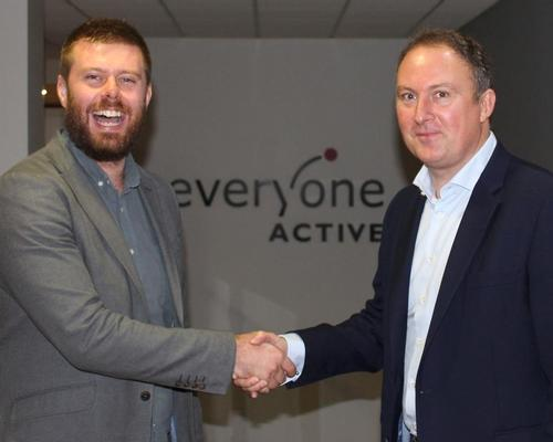 Eamon Lloyd, director, head of partnerships for UK at Gympass (left) and Everyone Active's regional director Duncan Jefford signing the deal