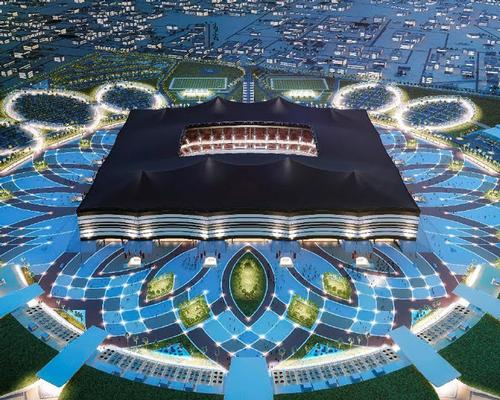 The design of the stadium - created by local architects - mimics a traditional nomadic tent