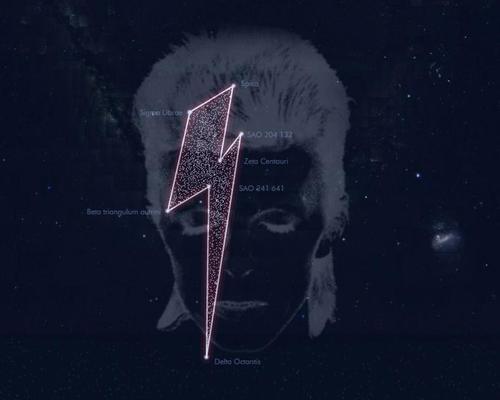 David Bowie's constellation near Mars / Stardust for Bowie/Shutterstock/spatuletail