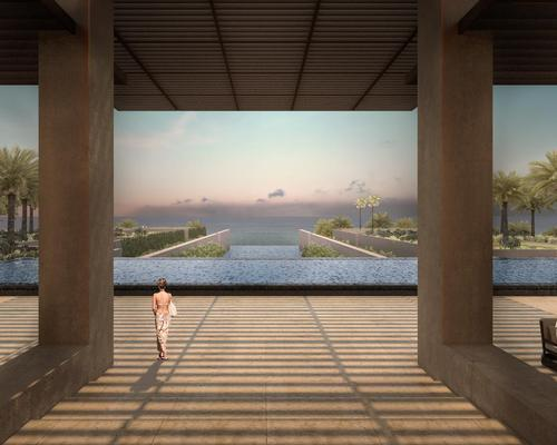 The hotel's open-air lobby gives guests views of the sea and expansive infinity pools / JW Marriott
