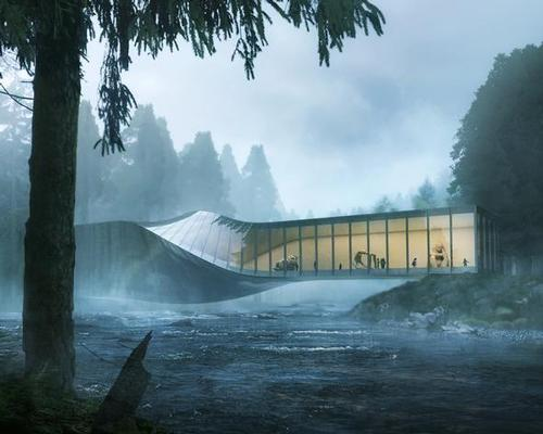 The Kistefos Museum will twist across the River Randselva / Bjarke Ingels Group