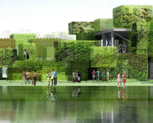 large green blocks of flowers will be stacked on a concrete framework / Studio Pei-Zhu