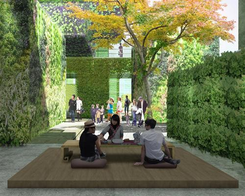 Users of the public space will be encouraged to drink tea, enjoy exhibited work by famous artists and rest under the shade of the sculptural forms / Studio Pei-Zhu