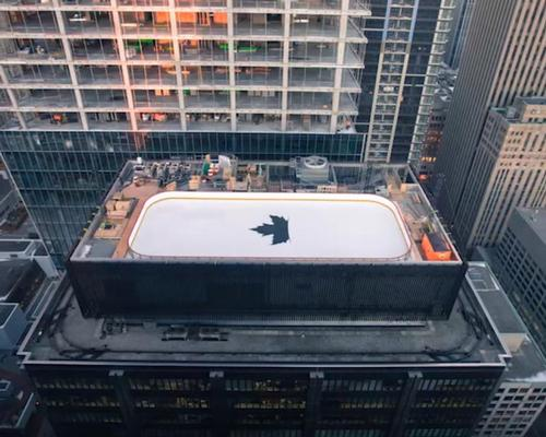 The rooftop ice rink took just over one month to build / Molson Canadian