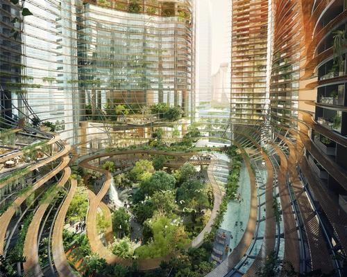 The atrium will lead to leisure space, including restaurants and retailers / Ingenhoven Architects, M+S Pte Ltd, Gustafson Porter