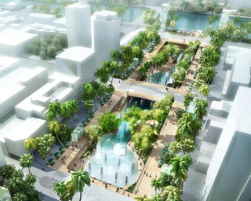 The lagoon will be built within the skeleton of a demolished shopping mall / APLUS CG