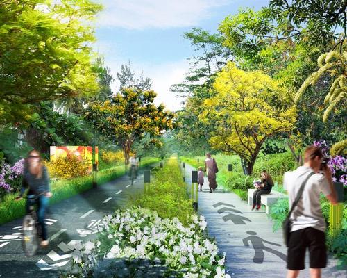 The railway line will be transformed into an open space for walkers, joggers and cyclists / Nikken Sekkei