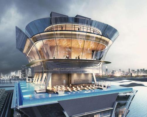 The rooftop infinity pool will look out towards the Arabian Gulf / Nakheel