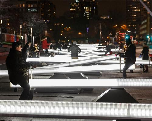 Each seesaw is fitted with LEDs and speakers and emits waves of light and sound / Ulysse Lemerise