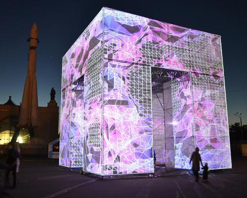 The P-Cube is a temporary installation commissioned by the city's Polytechnic Museum to stand in VDNKh Park / Marco Zotes