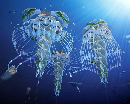 The jellyfish-inspired 'oceanscrapers' will stretch to depth of 1,000m (3,300ft) / Vincent Callebaut