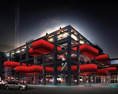Large overhanging red containers will contain 15,000 art works dating back to the Ottoman period / Emre Arolat Architecture