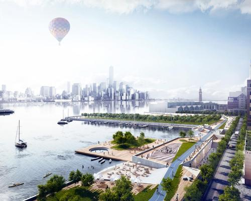 Dutch architectural practice OMA, who are featured in the RIBA exhibition, proposed a new park to soak up excess water in New Jersey following Hurricane Sandy / OMA