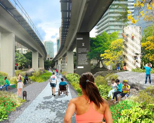 The Underline corridor will create a linear park that will enhance connectivity, mobility and biking safety / James Corner Field Operations