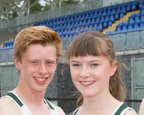 Ben Fisher and Lydia Mills (centre) made up part of Northern Ireland's team for the 2015 Commonwealth Youth Games in Samoa / Athletics Northern Ireland