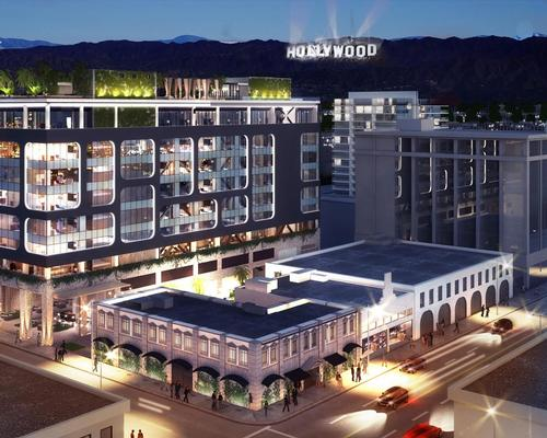 The hotel's rooftop will have a clear view of the famous Hollywood sign / Rockwell Group