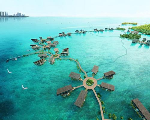 The buildings will be linked by a wooden walkway that travels across the island's shallow bay / Funtasy Island
