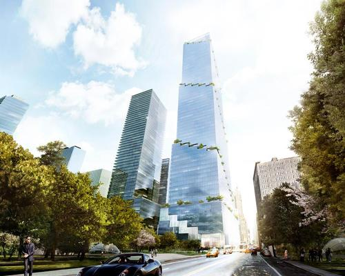 "The innovative design ensures that every floor of the tower opens up to the outdoors with hanging gardens and green terraces creating ""collaborative and connected workspaces"" / BIG"