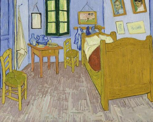Van Gogh was so taken by his room – a simply furnished, brightly coloured space decorated by his own works of art – he famously painted it three times