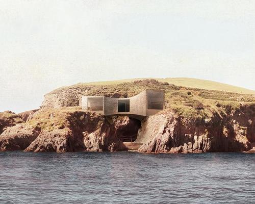 Carmody Groarke won over the judging panel with their vision for a curving, sculptural volume extending from the cliffs and connecting two rocky outcrops / Carmody Groarke