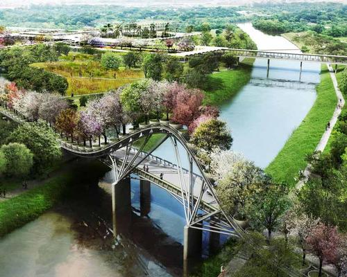 The botanic garden will be linked to the city via an eye-catching tree-covered bridge / West 8