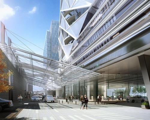 Designed by Dallas-based 5G Studio Collaborative, the 35-storey hotel will have a sleek, modern feel and will include 10 floors of residences / Langham