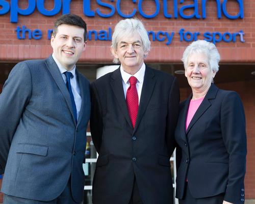Mel Young (centre) will become chair until 2020 after taking over from current incumbent Louise Martin (right) in June / Sportscotland
