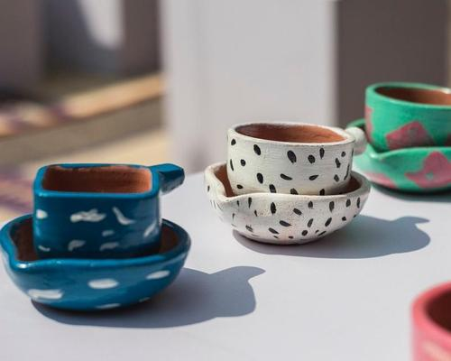 Chai tea cups made from terracotta were made by local potters for the debut show / Design Museum Dharavi