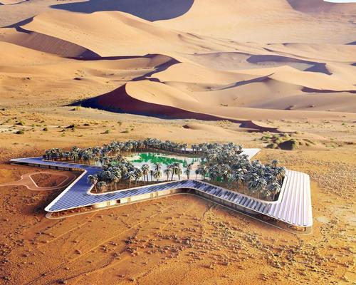 The resort features 84 interconnecting suites surrounding the desert spring / Baharash Architecture